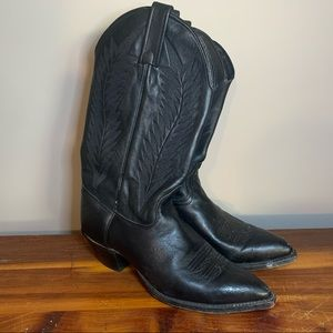 J Chisholm Black Leather Embroidered Cowgirl Boots